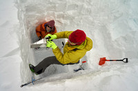Taking a snow sample