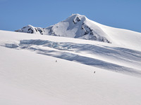 Skiing on the upper glacier